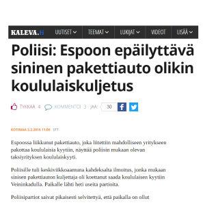Kuvakaappaus Kalevan uutisesta.