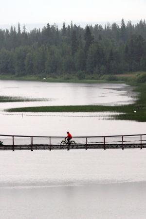 Pyöräilijä polkee sillalla Luirojoen yli