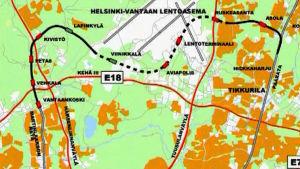Kehäradan linjaus- ja asemasuunnitelma vuodelta 2003