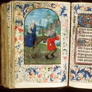 Maria, Joosef ja Jeesus-vauva pakenemassa Egyptiin, kirjan kuvitusta 1400-luvulta, on osa: The Hague, KB, 128 G 31; ByvanckB; Middeleeuwse verluchte handschriften