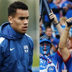 Boldkollage med Pyry Soiri och isländska fotbollsfans.
