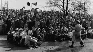Teknologoer i Kajsaniemiparken under valborg 1955.