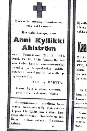 Anni Ahlstömin kuolinilmoitus