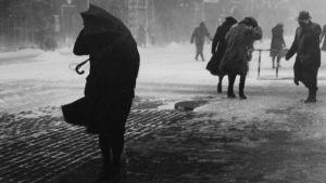 Lumimyräkkä Helsingissä 1940-luvulla