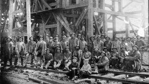 Gruvarbetare i Amerika bland dem finländska emigranter, tidigt 1900-tal.