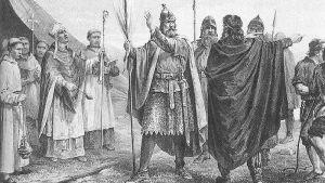 Peter Nicolai Arbo (1831-1892): kuningas Olavi I saapuminen Norjaan