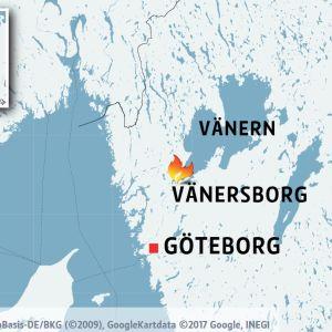 Karta över delar av Sverige