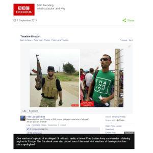 Kuvakaappaus BBC:n uutisesta koskien kuvia väiteystä ISIS-taistelijasta.