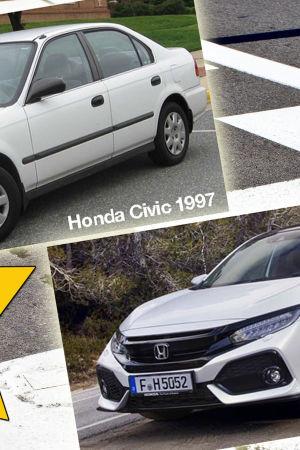 Honda Civic 1997 och 2017, Kasper Strömman inne i stjärna i hörnet och Formel 1-rutor i bakgrunden.