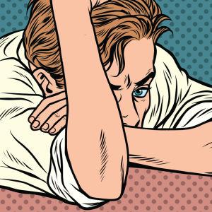 En teckning av en deprimerad man som tänker: Vad är meningen med livet? Varför lajkar Bosse inte min bild?