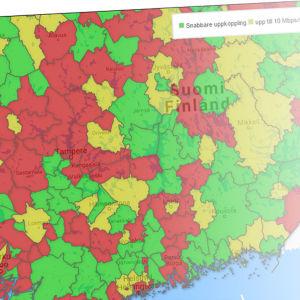 Skärmdump på interaktiv karta över 4G-hastigheter i kommunerna.