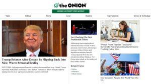 Skärmdump från satirtidningen The Onion.