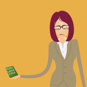 Nainen ja iso sekä pieni kirja, grafiikka.