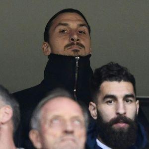 Zlatan Ibrahimovic på läktarplats i matchen Italien–Sverige.