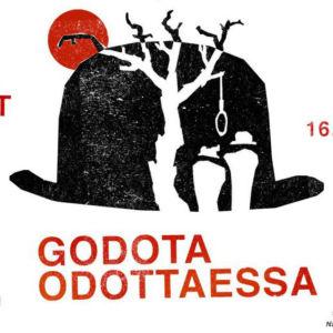 Turun ylioppilasteatteris affisch för Godota odottaessa (I väntan på Godot).