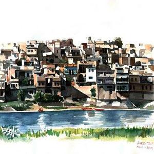 Målning av gamla stan i Mosul vid Tirgis strand, av arkitekt Ahmed Tohala