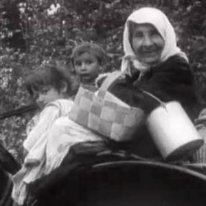 Mustalaisnainen ja lapsia hevoskärryissä maantiellä (1935)
