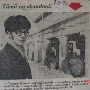 Benito Casagrande vuonna 1970 nuorena arkkitehtinä lehtijutussa.