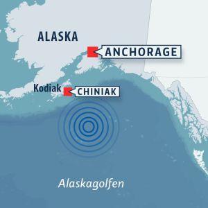 Karta som markerar läget för den kraftiga jordbävningen i Alaskagolfen i januari 2018