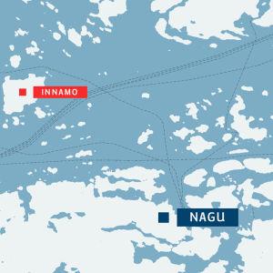 Karta över Innamo i Nagu