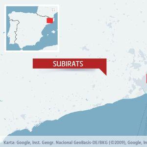 Karta över Subirats i Spanien.
