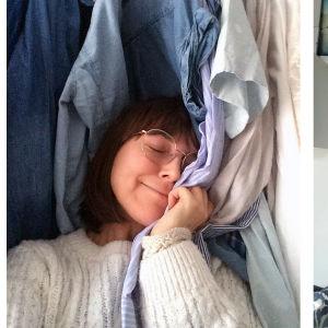 Två kvinnor. Hon till vänster har en massa kläder runt sig och kramar en skjorta och ser ut att njuta. Hon till höger står framför en vit vägg och ser lugn och nöjd ut.