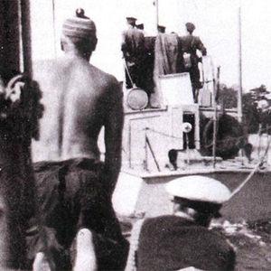 Kivirantojen purjevene neuvostoliittolaisen vartioveneen hinauksessa Porkkalan vuokra-alueella 1948.