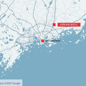 Karta över södra Finland där Håkansböle och Helsingfors är placerade på kartan.