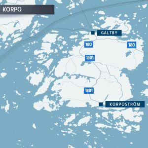 Karta över landsvägar i Korpo.