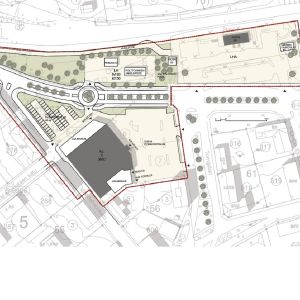 En illustrationskarta över hur S-marketkvarteret i centrum av Ekenäs kan se ut om en ny plan blir verklighet.