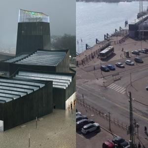 Kollage av två bilder: ett med det tilltänkta Guggenheimmuseet, och ett med den nuvarande parkeringsplatsen vid södra kajen i Helsingfors