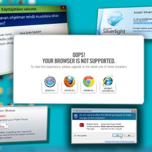Automaattisia selaimen ja laajennuksien päivitysilmoituksia