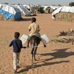 Flyktingläger i södra Sudan.