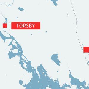 karta över Forsby och Lovisa.
