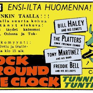 Edison-elokuvateatterin mainos filmistä Rock Around the Clock Helsingin Sanomissa (kuva väritetty)).