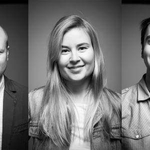 Abitreenien tiimi syksyllä 2016. Tuottaja Mika Salomaa sekä toimittajat Jenni Honkanen ja Leo Kosola.