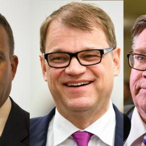 Var sin bild av finansminsiter Petteri Orpo, statsminister Juha Sipilä och utrikesminister Timo Soini i ledning för regeringen.