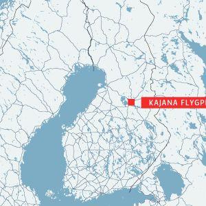 Kajana flygplats på kartan.