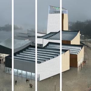 ett collage där man ser guggenheim i olika fasadmaterial