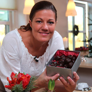 Mette Blomsterberg keittiössä.