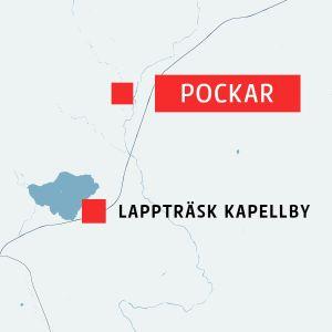 Karta över Lappträsk och byn Pockar