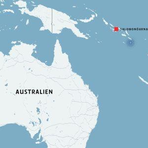 En karta som visar var Salomonöarna ligger.