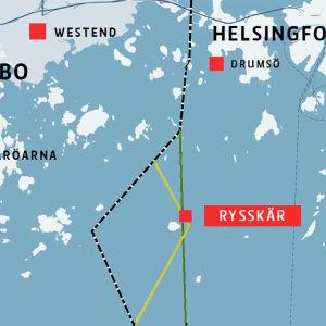 Karta över skärgården mellan Esbo och Helsingfors.