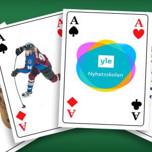 Fyra spelkort med olika bilder på.