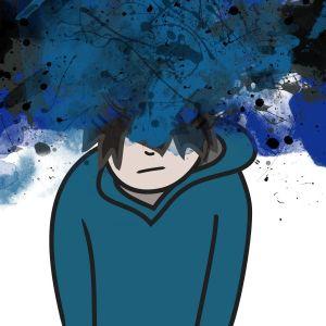 Piirroskuva nuoresta, jonka pään ympärillä musta pilvi