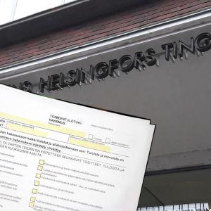 Utkomststödsblankett i förgrunden och Helsingfors tingsrätt i bakgrunden.