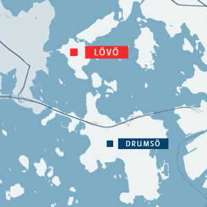 Lövö och Drumsö utmärkt på en karta.