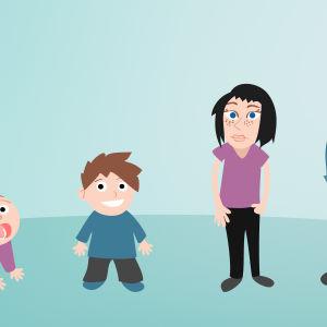Piirretty kuva. Neljä piirettyä hahmoa, pieni vauva, lapsi, teini sekä aikuinen.