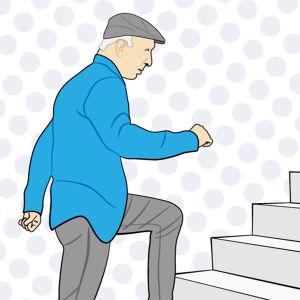 Grafik av man som går i trappor