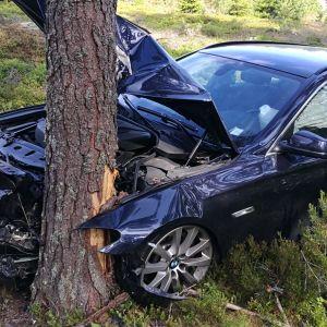 Bil som krockat med träd.